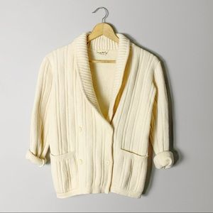 Double breasted Italian wool sweater cardigan